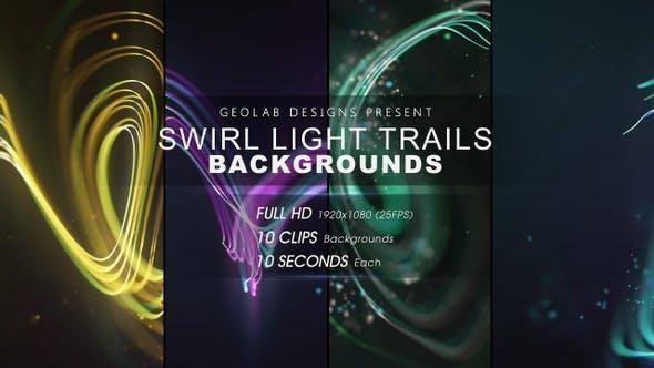10组抽象漂亮彩色粒子线条背景叠加动画 Swirl Light Trails Backgrounds