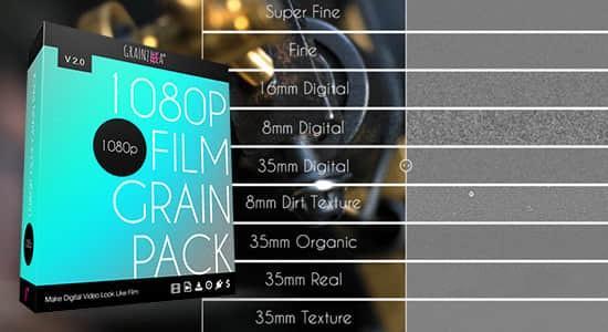 9种不同的电影胶片噪点颗粒叠加动画素材 1080p Film Grain Pack 2.0