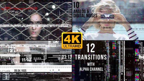 23个高质量信号干扰画面像素损坏特效动画转场4K视频素材 – 有音效 有透明通道