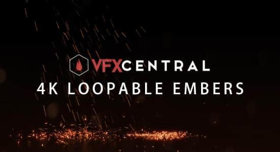 7个火星粒子掉下洒落特效动画4K视频素材 VFXCentral – Loopable Embers