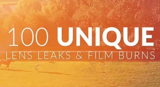 100个镜头泄漏炫光闪烁叠加合成动画素材 Lens Leak Pack Pro