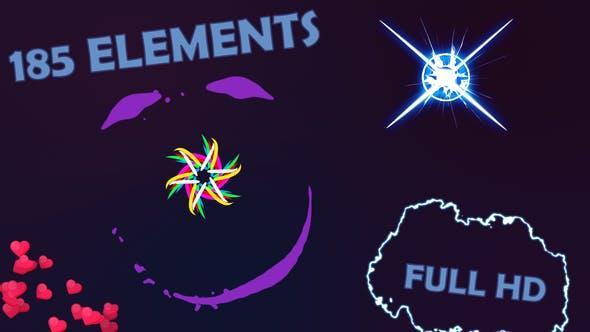 185种能量闪电爆炸烟雾线条气泡心羽毛MG图形动画元素包 有透明通道