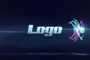 蓝色光束条纹企业宣传片Logo演绎