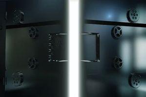 重量级金属门打开LOGO展示PR模板