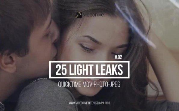 25个镜头漏光炫光光晕动画素材 Light Leaks Pack v2