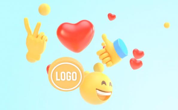 PR模板-3D表情Emoji动画开场视频logo片头